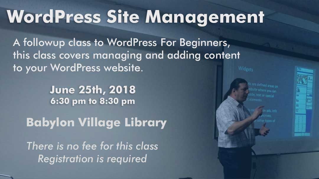 WordPress Site Management Class – Babylon Village Library