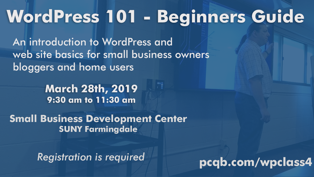 Beginning WordPress Class At Farmingdale SBDC